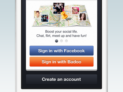 sign in screen sign in login new account badoo