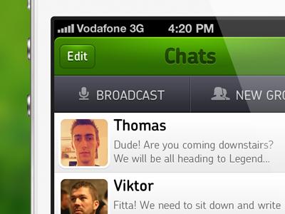 whatsapp app fun concept whatsapp chat broadcast iphone application london ui green menu icons