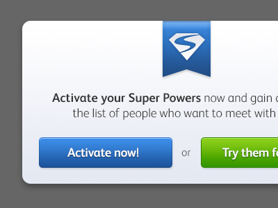 Activate SPP popup preview popup super powers badoo buttons lightbox green web ui blue