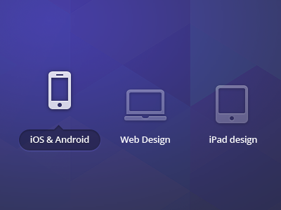 Platform selector for my new landing page ios android web design ipad intro selector purple