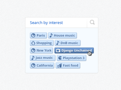 Search by interest panel - super soft module interest simple clean ui search icon