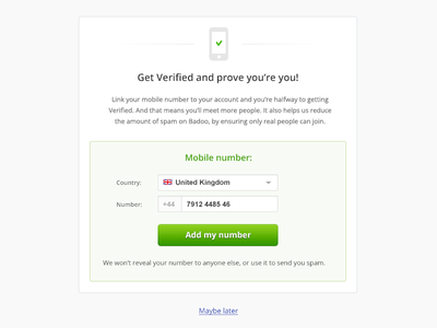 get verified intro screen verify mobile ui web ux soft white grey number telephone green