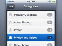 Badoo help Categories for iOS