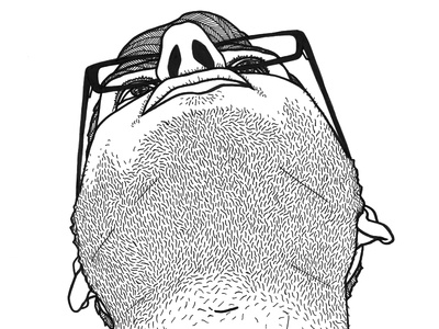 from below inktober illustration drawing pen stubble glasses chin below face man