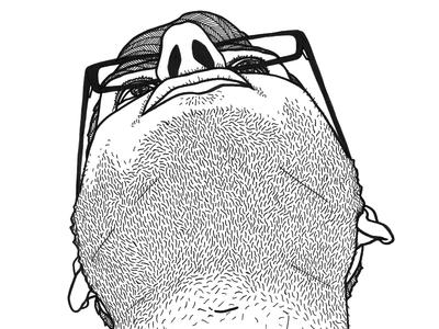 from below inktober illustration drawing pen stubble glasses chin below face man