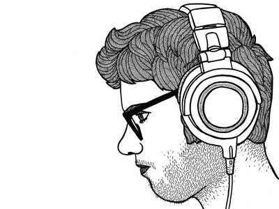 focus illustration drawing patterns hair music concentration face stubble glasses man profile headphone