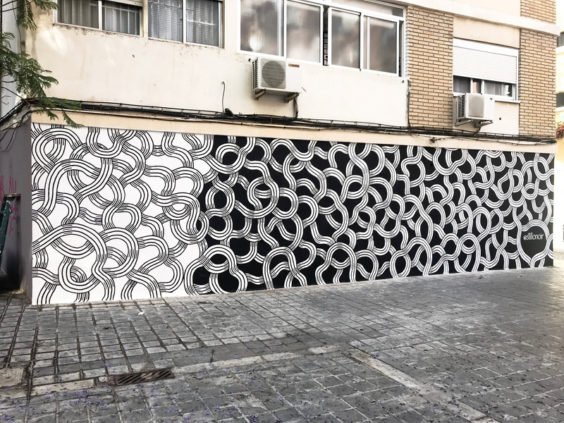 Intertwined Mural Process 2 work in progress valencia paint lines murals abstract pattern black and white wall urban art street art mural