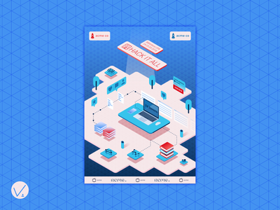 HackItAll 2018 poster grind student project grid hackathon isometric layout affiche poster