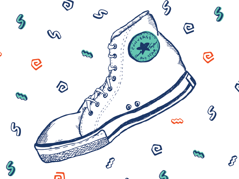Converse gestural book texture sketching shoes illustration converse