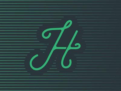 Handlettering  script cursive fade gradient green blue color typography lettering h logo