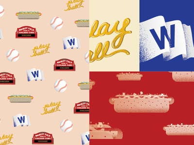 Chicago Cubs Illustration wrigley field wrigley mustard hot dog play ball baseball w flag chicago cubs