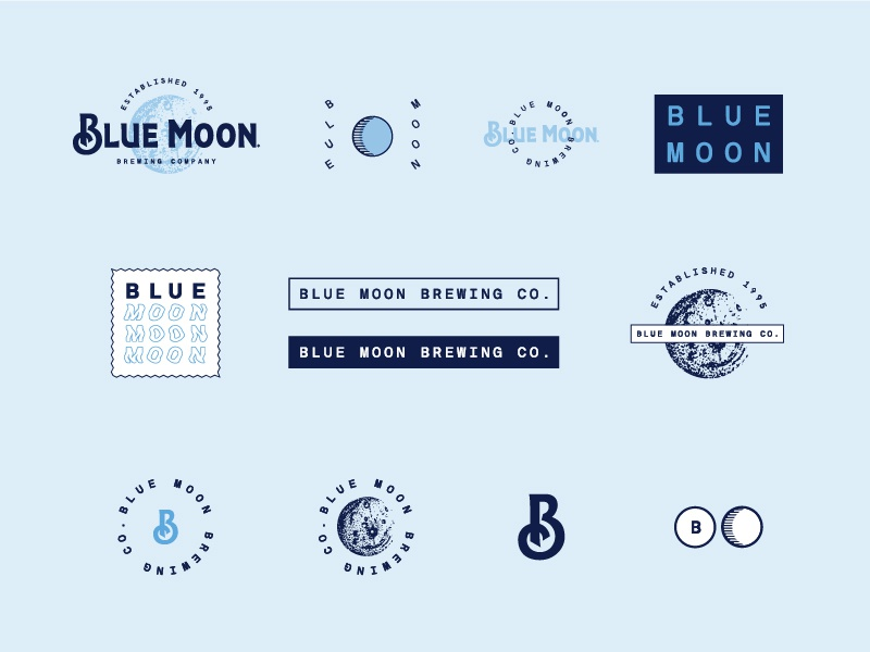 Blue Moon primary system secondary logo branding craft blue color badges intricate beer