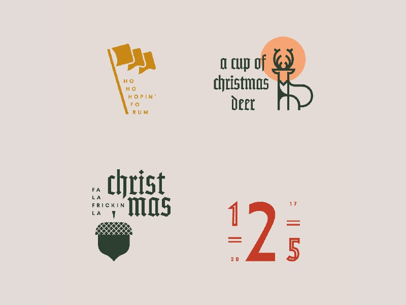 Christmas gothic numbers flag acorn illustration badges typography type cup deer christmas