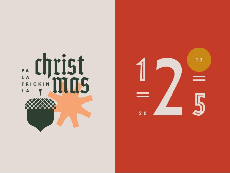Christmas badge badges typography december christmas color grid type numbers acorn