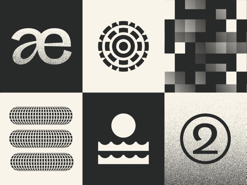 Brand Exploration brand system logo system marks illustration black and white gradient waves 3d typography grid texture logo branding brand exploration