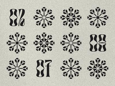 Pinwheels typography noise grain numbers type branding logos negative space type.gothic flower logo pinwheel
