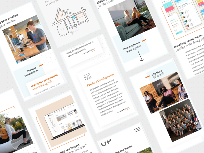 Elevator Up's Agency Website Redesign studio drop shadow launch typography development brand offset rebrand icons interface inspiration website ux  ui blue orange editorial redesign agency