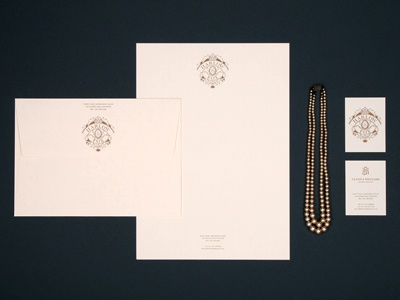 Harlow & Fox stationary branding identity collateral business card letterhead envelope gold cream ink