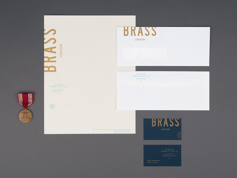 Brass stationery logo brand branding mark identity letterhead envelope restaurant bar club business card