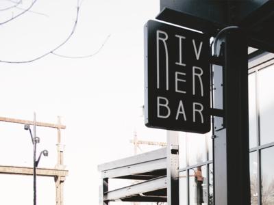 River Bar exterior signage sign club bar restaurant identity mark branding brand logo