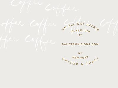 Daily Provisions badge bar custom hand-drawn script mark identity restaurant cafe branding brand logo