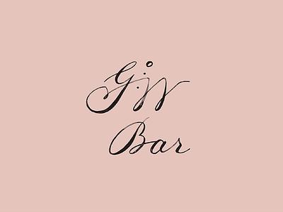 GW Bar vintage script lettering typography custom mark hospitality bar restaurant brand branding logo