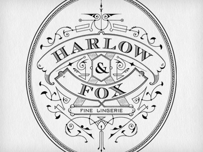 Harlow & Fox logo type mark typography branding identity lingerie fashion hand drawn