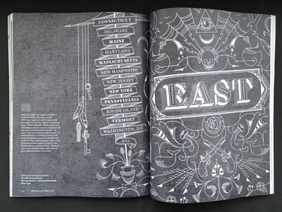 Print type magazine spread design annual east layout oat creative