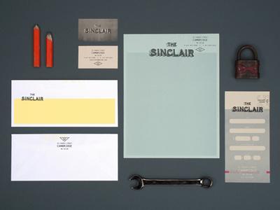 The Sinclair logo branding identity restaurant bar club music venue stationary envelope gift certificate business card letterhead