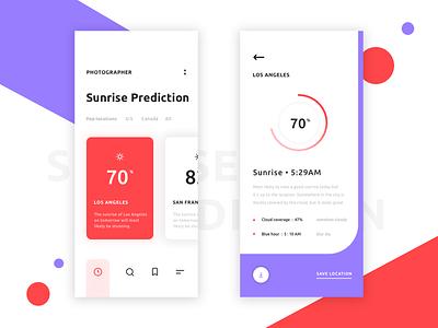 Sunrise prediction app UI design visual visual design ios 12 ios design iphone iphone x ux app ui
