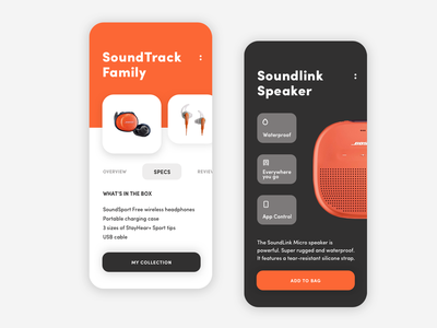 Bose Product App UI Design music speaker earpod earphone headphone product ios iphone x iphone design ux app ui