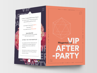 After Party Invite event location circular orange postcard flyer party invite