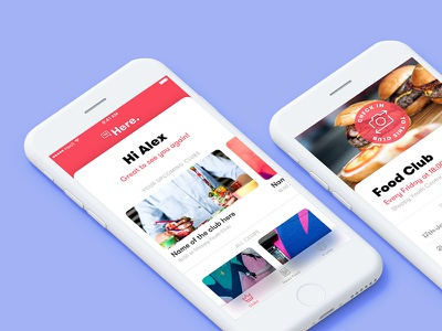 Here. - Mobile Attendance App food blur attend register check in gt walsheim colors colours ios mockup design app