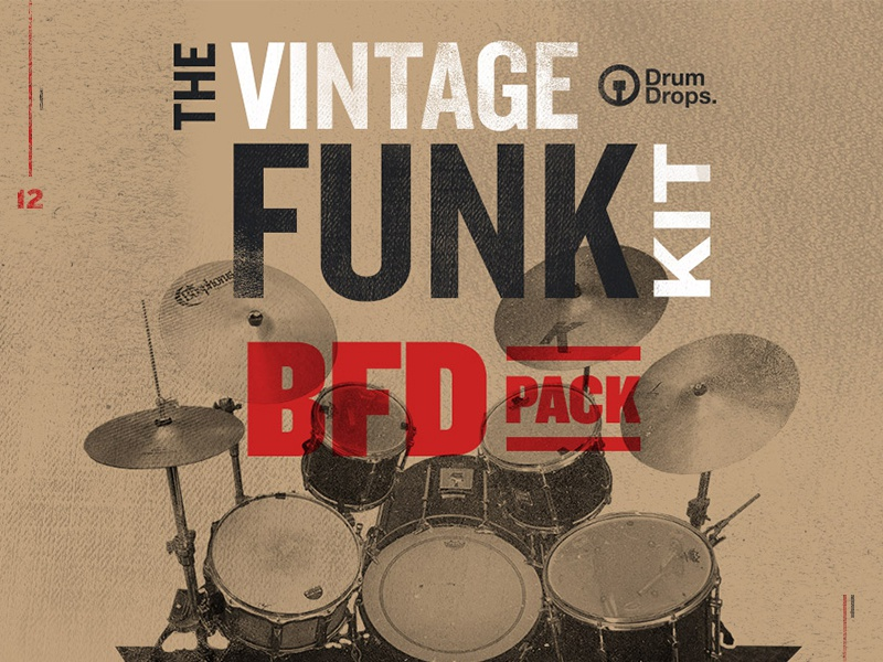 The Vintage Funk Kit promo email red knockout overlay multiply drums worn