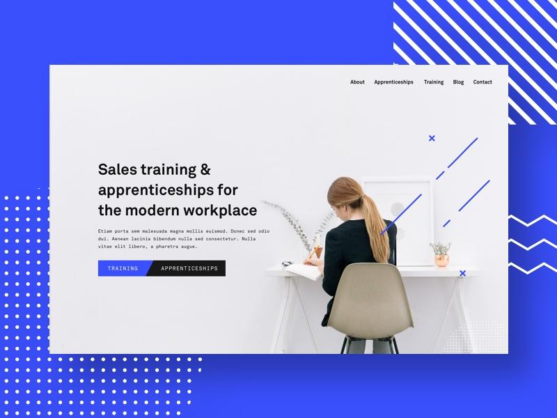 Sales Training apprentice home sales illustration unsplash blue design website