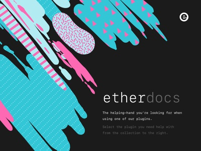 EtherDocs dark ui dark monospace plugin pattern black documentation docs blue pink design website