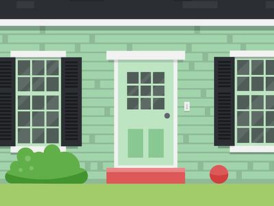 Front Door shutters illustration window shingles home house door