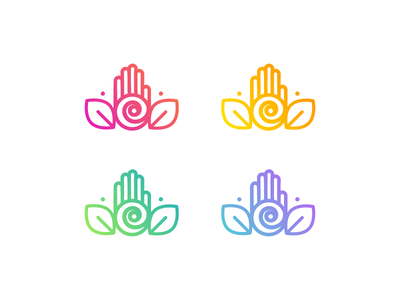 Healing Therapy icon color transition therapy massage spa palm spiritual reiki gradient yoga healing hand logo