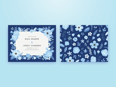 Save the Date: Florals winter blue consumer invitations couple wedding save the date