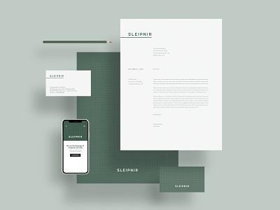 Sleipnir Branding letterhead business card vistaprint simple green branding business mobile