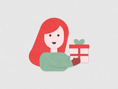 Gifting illustration layered paper redhead present gifts xmas christmas holiday gifting cut paper papercut