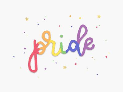 Pride cursive handwritten confetti lovepop rainbow gold foil pride month pride handlettering