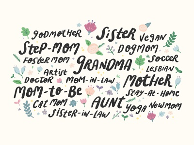 Mother's Day Handlettering diversity moms day mother mom floral handwriting handlettering