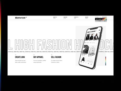 Motherlode Landing fashion streetwear app landing ui white