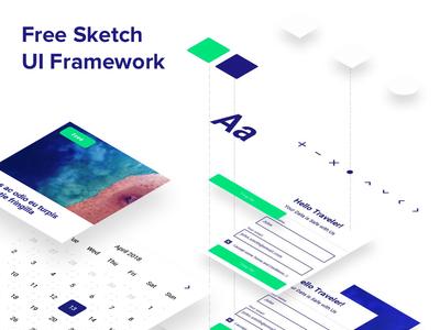 Sketch Freebie – UI Framework white clean blue green toptal framework ui freebie