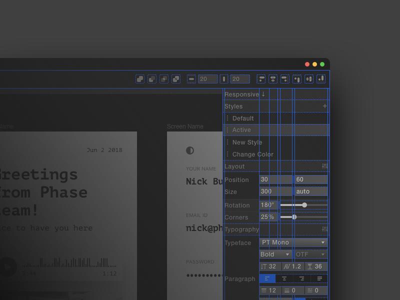 Phase – Interface Sneak Peek design system grid tool interaction ux ui phase