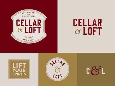 Cellar & Loft wine branding spirits wine typography branding vector logo design