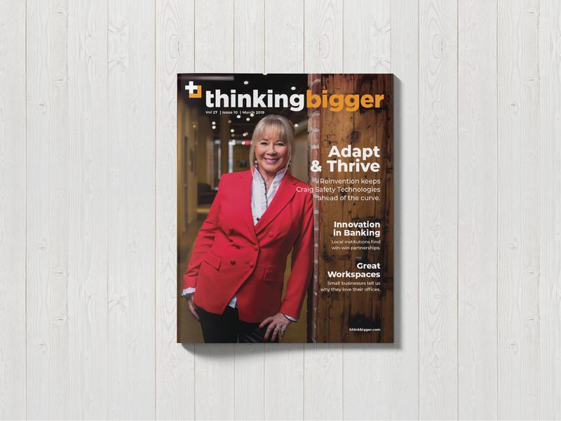 Thinking Bigger Magazine cover publishing print magazine brand business typography logo design branding