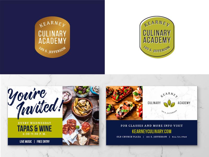 Kearney Culinary Academy Homepage logo badgeg print branding design brand food website culinary academy