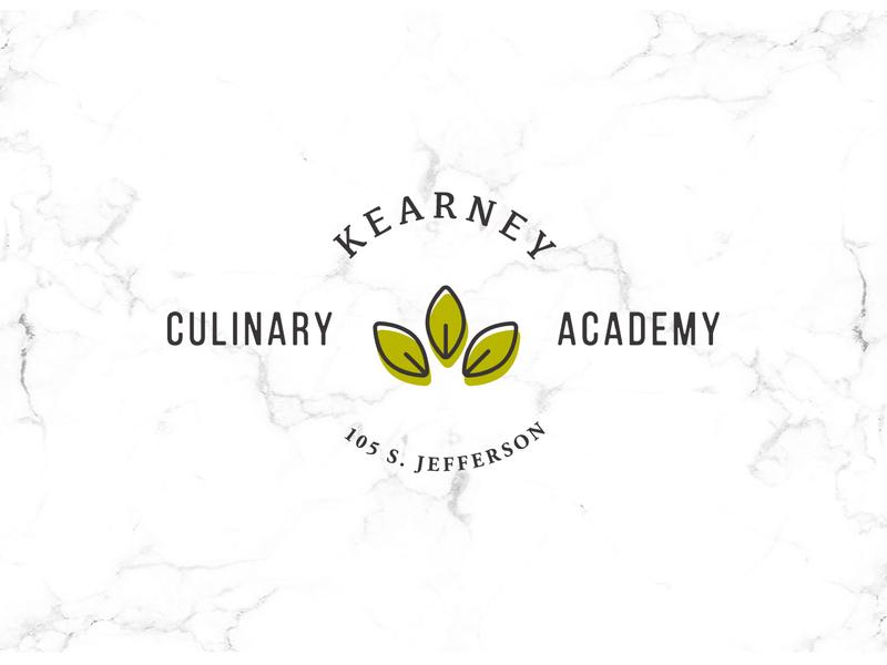 Kearney Culinary Academy logo badgeg print branding design brand food website culinary academy